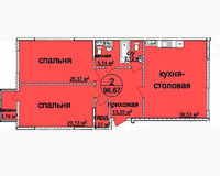 2 комнатная квартира 96.67 кв. м