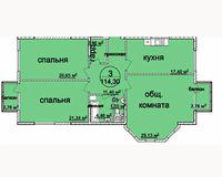 3 комнатная квартира 114.3 кв. м