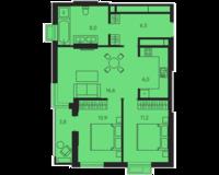2 комнатная квартира 63.0 кв. м