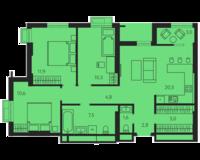 3 комнатная квартира 78.0 кв. м