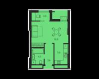 1 комнатная квартира 33.0 кв. м